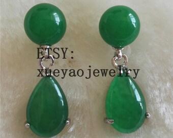 jade earrings, green jade earrings, 10 mm jade earrings