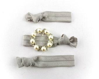 Stylized Pearl Wreath Hair Tie Set - 3 Rhinestone and Elastic Hair Ties that Double as Bracelets