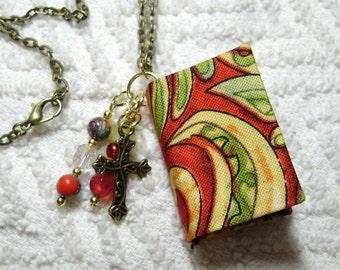 Teacher Gift - Handmade Book Necklace - Book Jewelry - Book Pendant - Book Journal - Handmade Book - Paisley Fabric - BN-196