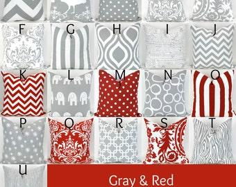 Red & Gray Pillow Cover - 18x18 - Mix/Match lipstick grey white throw cushion euro sham bold decorative custom nursery Premier Prints