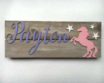 unicorn girl nursery, unicorn gift, Nursery name sign, unicorn wall art, unicorn nursery, unicorn decor, baby gift, Rustic nursery sign