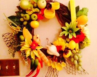 Yellow Kitchen Wreath