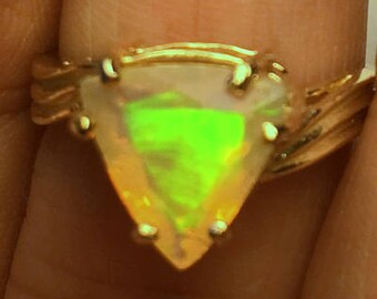 Size 6.75, Solid 10k Yellow Gold Ring, Ethiopian Welo Opal Ring, Semi-Transparent Color Play Stone,Yellow, Lavender, Blue, Green, Peach Fire