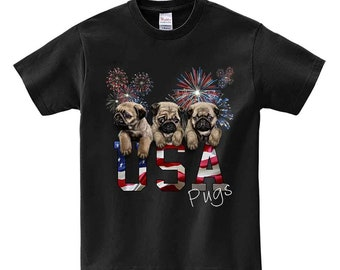 July 4 Fireworks Celebration with Pug Puppy, Patriot Dog - Men, Women, Kids, Short Sleeve Tee Shirt, PrintStarTee Graphic Japan, Gift