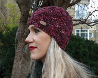 Burgundy Knitted Ladies Hats - Handmade Knit Red Beanie - Cherry Knit Beanie - Knitted Hats - Ready to Ship Beanie - Winter Hats for Women