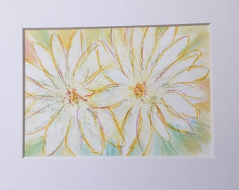 Daisy Twins in oil pastels