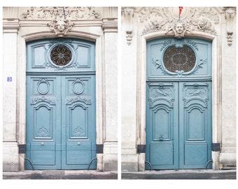 Paris Photography - The Blue Doors, Les Portes Bleue, Set of Two, Architectural Paris Photograph, French Home Decor, Large Wall Art