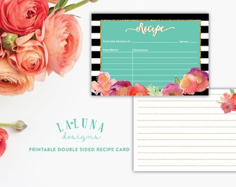 Printable Recipe Card, Bridal Shower Recipe Card, Recipe Cards, 3x5 Recipe Cards, Recipe Cards for Bridal Shower, Black & White Stripe
