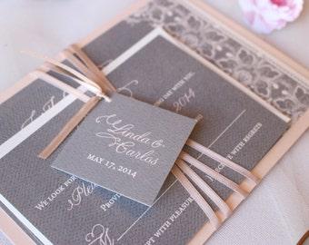 Blush Wedding Invitations, Grey Lace Invitations, Blush and Gray Invites, Lace Wedding Invite - Enchanted Taylor Invite with Ribbon Sample