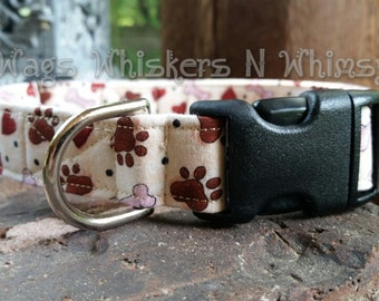 Tan Heart Bones Paws Dog Collar -- All proceeds to animal charity