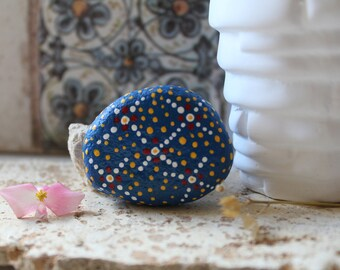 Flowers painted stone-hand painted-Acrylic paint-Original