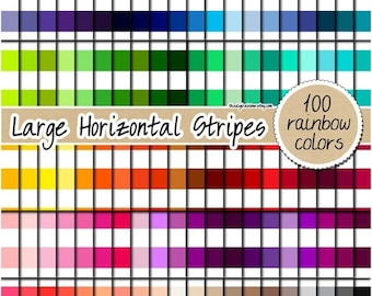 SALE 100 large horizontal striped digital rainbow paper striped scrapbooking kit pattern printable 12x12 pastel neutral bright dark color