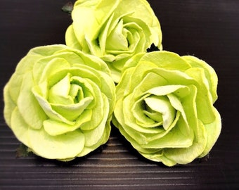 3 pcs. 2.5 inches large Green apple mulberry roses - paper flowers #160