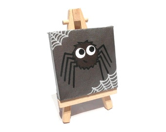 Cute Spider mini art - cartoon arachnid with web on metallic background, original acrylic painting on miniature canvas, with easel or ribbon