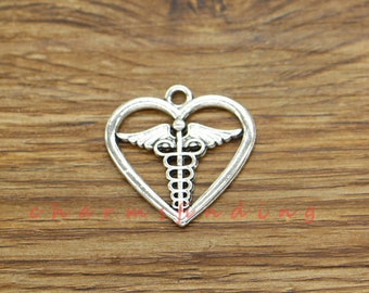12pcs Heart Caduceus Charms Medical Symbol Charms Antique Silver Tone 26x26mm cf3570