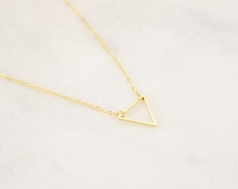 Gold Triangle necklace - Layering Necklace - Delicate Charm necklace - Minimalist and Dainty Necklace