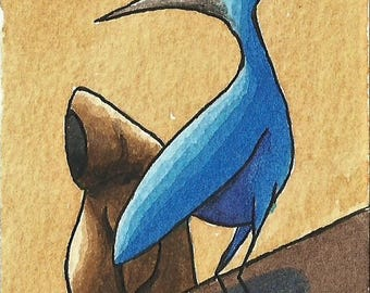 ACEO. Original artwork trading card. 'The Blue Bird Concerned For It's Safety'
