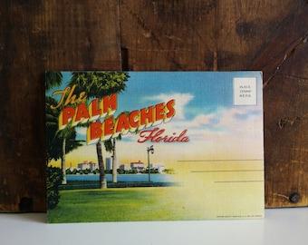Vintage Palm Beaches Linen Postcard Folder / unused 1930s Souvenir of Florida