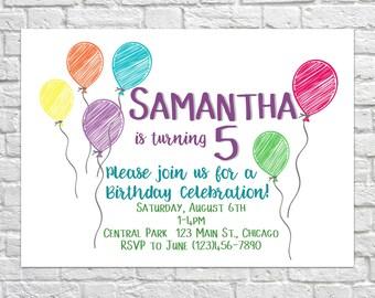 Printable Birthday Invitation, Kids birthday, Birthday Invitations, Kid's Birthday Invite, Printable Party Invite, Birthday Party Balloons