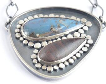 leland blue slag carved rosewood sterling silver pendant necklace