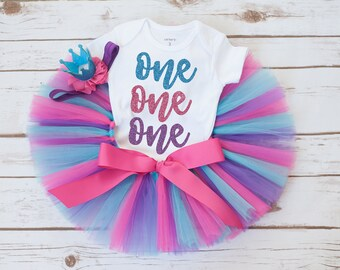"""One outfit """"Cort"""" first birthday tutu one tutu one birthday outfit girl pink purple blue birthday outfit tutu set girls first birthday tutu"""