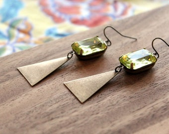 vintage glass gem + vintage brass triangle earrings - lemon lime
