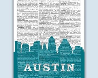 Austin Skyline, Austin Poster, Austin Decor, Austin Print, Austin Wall Art, Austin Gift, Austin Wall Decor, Austin Texas, Austin Skyline Art