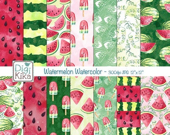Watermelon Digital Papers, Watercolor Scrapbook Paper - Summer Papers - Watermelon Background - INSTANT DOWNLOAD