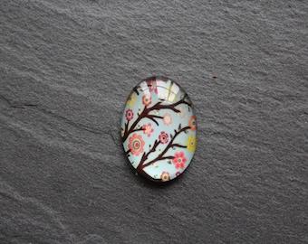 Cabochon 18 x 25 mm glass, flower branch