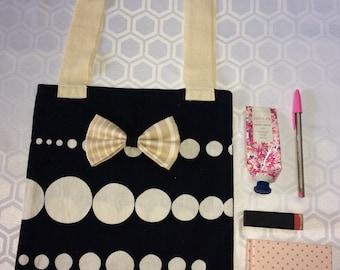 Black and white printed tote bag