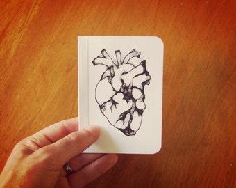 Heart Notebook, Pocket Journal, Original Handmade Mini Diary and Jotter, Valentine Gift, Anatomical Heart, Blank Paper Notebook