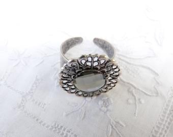Cabochon Swarovski Crystal, silver plated ring