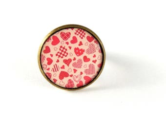 Ring adjustable hearts red retro vintage