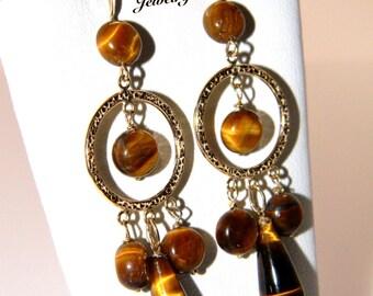 Gold Tiger Eye Gemstone Chandelier Earrings