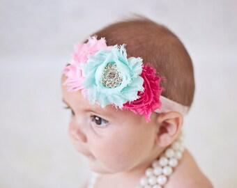 Baby Headband Mint and Hot pink Headband Shabby Headband Baby Bows girl Headband Hair bow Flower Headband Newborn Headband