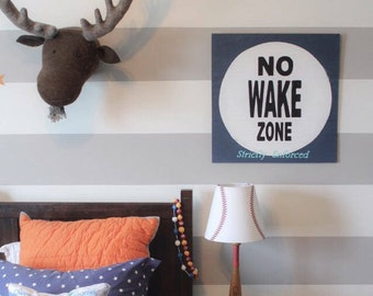 No Wake Zone Customizable Wood Sign, 100% handmade and painted, nautical decor, nursery decor,gift idea