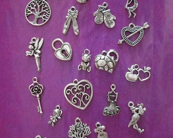 x 25 mixed silver charms 25 different patterns #1