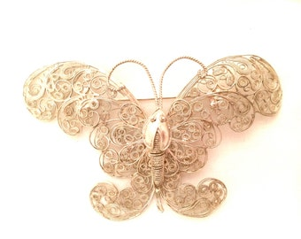 BUTTERFLY Brooch Antique Pin Sterling SILVER 40s Thai Ethnic Flyer Bug Figural 1946 1947 Siam Made Authentic Vintage Jewelry talkingfashion