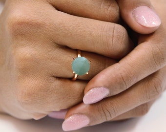 SUMMER SALE - aquamarine ring,rose gold ring,14k rose gold filled ring,march birthstone ring,semiprecious ring,round cocktail ring