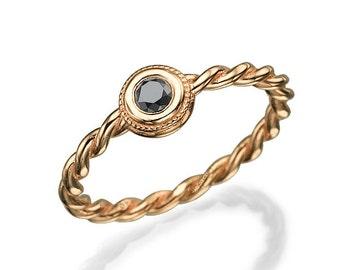 Black Diamond Ring, Rose Gold Ring, Engagement Ring, Braided Ring, Unique Engagement Ring, Art Deco Ring, Anniversary gift, christmas, Sale