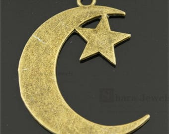 Moon Star charm, Crescent Moon Star Charms, 32*44mm, Antique Bronze
