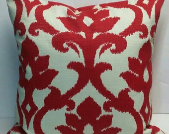 IKAT Richloom Solarium Basalto Cherry Red Ivory Decorative Outdoor Pillow Cover 16x16 18x18 20x20 22x22 16x12,18x12 more sizes with Zipper