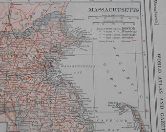 Vintage Map of Massachusetts, 1918 original antique atlas map, State map, Old Maps as Art