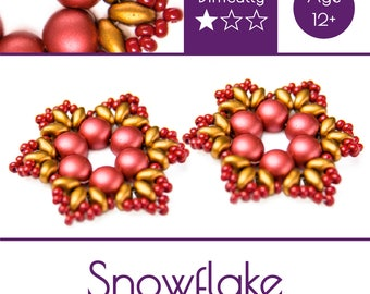"""Exclusive beading Kit for making two jewelry DIY """"Snowflake"""" (Gold-Red) (SNW013)"""