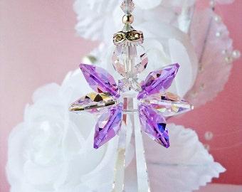Crystal Angel Suncatcher, Rear View Mirror Charm, Purple Swarovski Crystal Guardian Angel, Rearview Mirror
