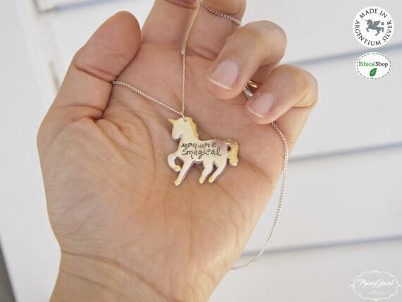 Unicorn necklace, unicorn pendant, unicorn charm, Unicorn engraved pendant, Argentium 960, made in Italy, graduated gift, eco-gold, ethical