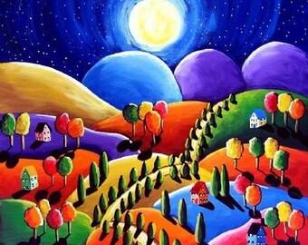 Peace on Earth Series Colorful Whimsical Folk Art Landscape Giclee Print