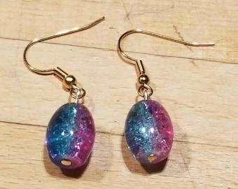 Pink Blue Ombre Earrings