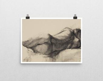 Reclining Woman, Charcoal Life Drawing Print