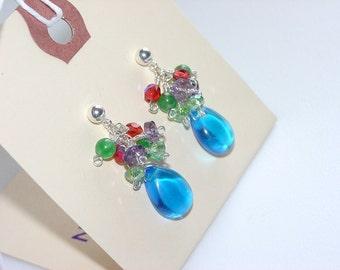 Festive Sterling Silver Ball Post Earrings with Mixed Gemstone / Multicolored / Blue Purple Green / Quartz / Amethyst / Teardrop